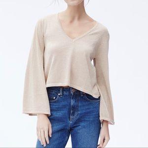 Sparkle Flared Sleeve V Neck Sweater